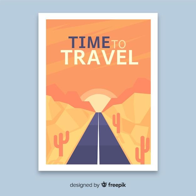 Póster viaje vintage diseño plano vector gratuito