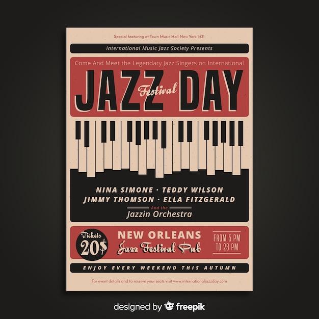 Póster vintage día internacional del jazz vector gratuito