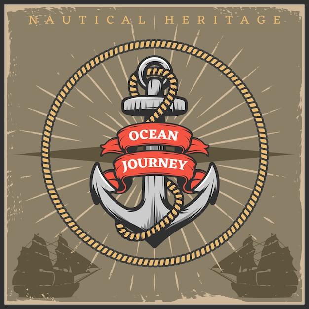 Póster vintage sailor naval vector gratuito