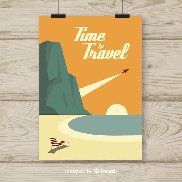 Póster vintage de viaje en diseño plano vector gratuito