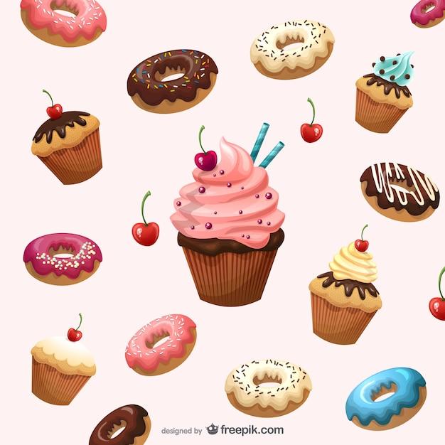 Postre dibujos animados fondo vector de material - Dessert dessin ...