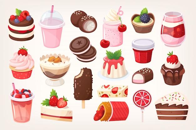 Postres de chocolate y frutas Vector Premium