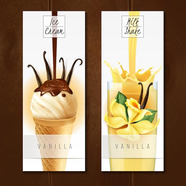 Postres con sabor a vainilla 2 apetitosos pancartas verticales realistas con helado y batido de leche aislados vector gratuito