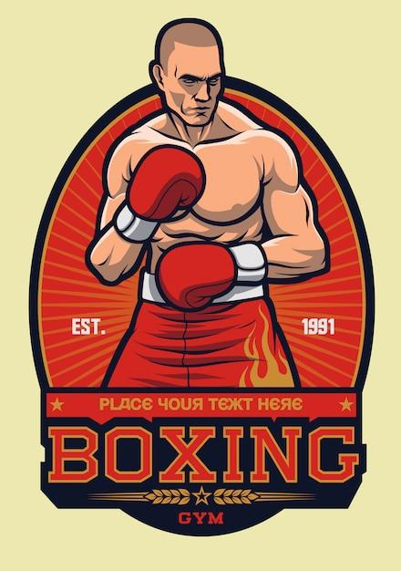 Postura de combate de boxeo con rayo de sol Vector Premium