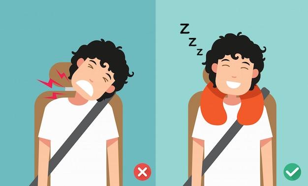 La postura correcta para dormir mientras está sentado erguido. Vector Premium