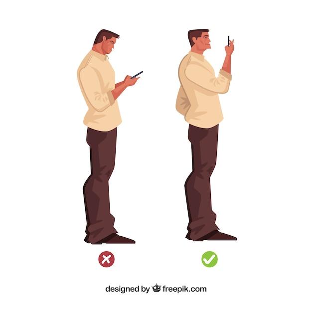 Postura correcta e incorrecta frente al móvil vector gratuito