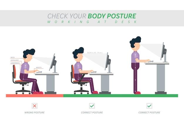 Postura correcta de sentarse en el escritorio Vector Premium