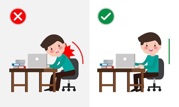 Postura sentada correcta e incorrecta. enfermedad dolor de espalda. salud médica síndrome de la oficina, empresario ilustración de dibujos animados. Vector Premium