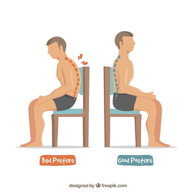 Posturas buenas y malas para sentarse Vector Gratis