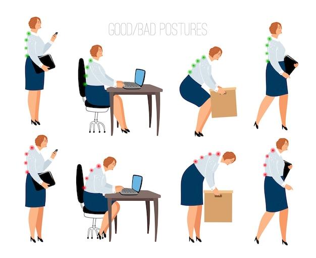 Posturas ergonómicas de la mujer. posición femenina correcta e incorrecta en el escritorio de trabajo y levantamiento de caja, sentado y de pie ilustración vectorial con modelos de mujeres Vector Premium