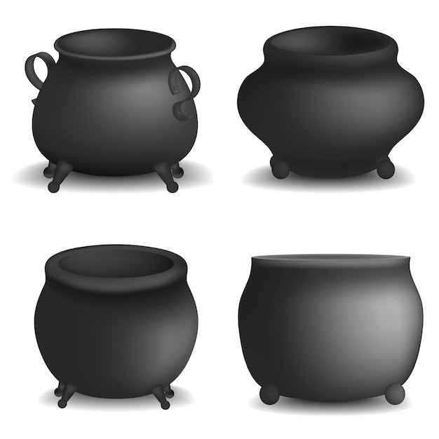 Pote de caldera de halloween maqueta conjunto. ilustración realista de 4 maquetas de vector de caldero pote halloween para web Vector Premium