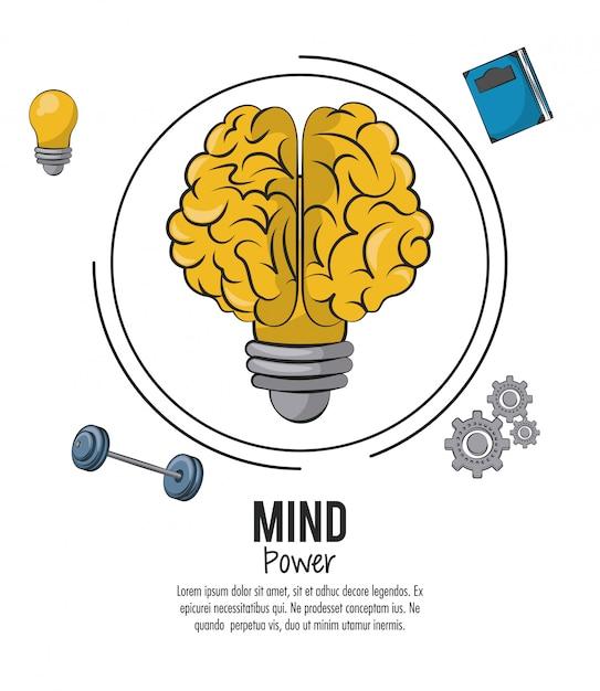 Potencia mental y plantilla cerebral Vector Premium