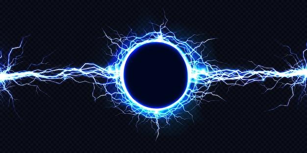 Potente descarga eléctrica circular golpeando de lado a lado. vector gratuito