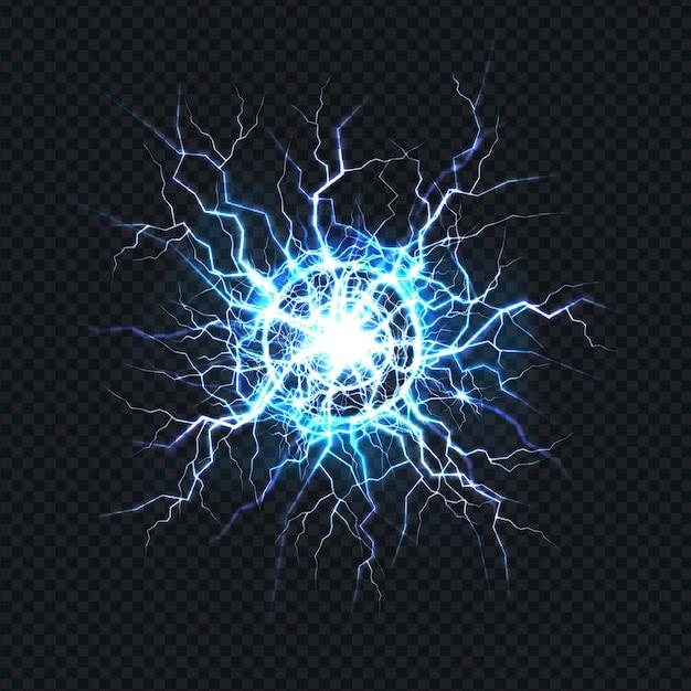 Potente descarga eléctrica, impacto de rayos lugar realista. vector gratuito