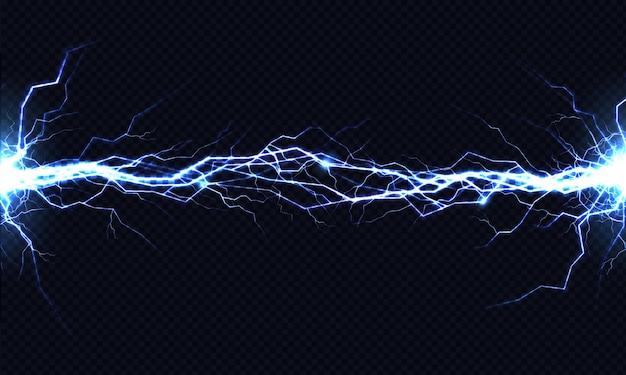Potente descarga eléctrica que golpea de lado a lado realista. vector gratuito