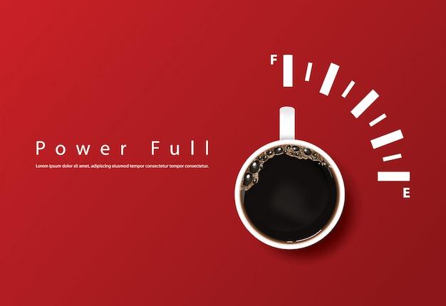 Potente taza de café, plantilla vector gratuito