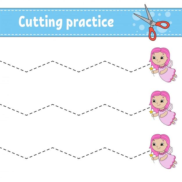 Práctica de corte para niños. Vector Premium