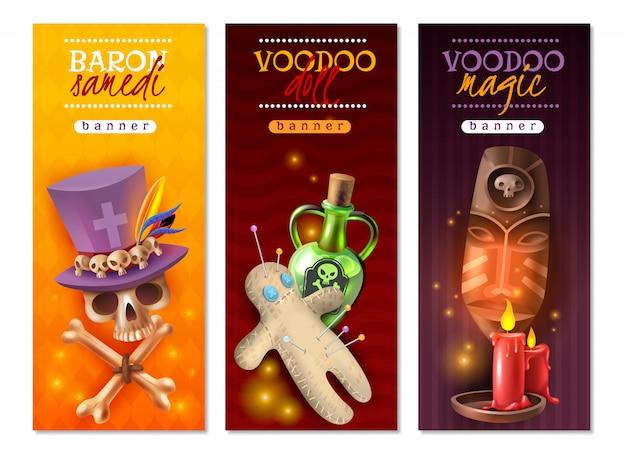 Prácticas ocultas religiosas del vudú con alfileres coloridos de alfileres mensajes de amor y venganza, pancartas verticales con ilustración vector gratuito