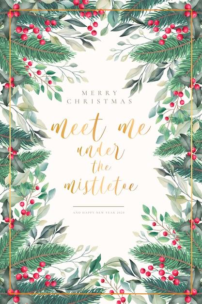 Preciosa acuarela tarjeta de navidad con cita vector gratuito