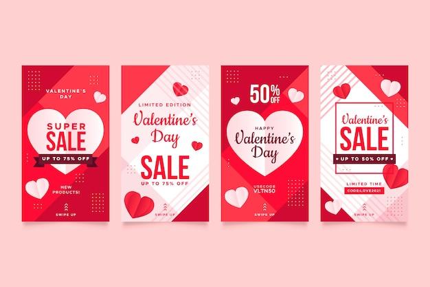 Preciosa colección de historias de rebajas de san valentín vector gratuito