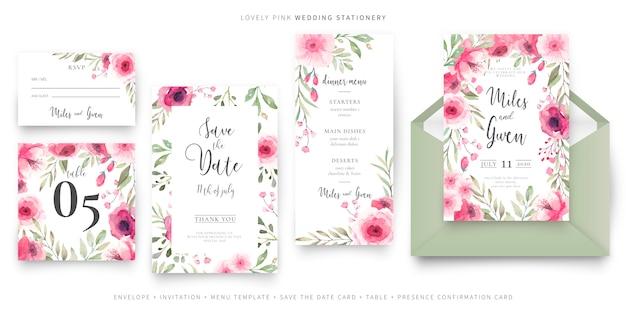 Preciosa colección de papelería para bodas vector gratuito