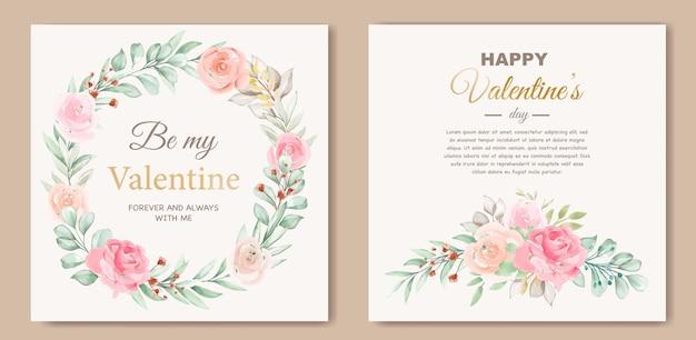 Preciosa plantilla de tarjeta de san valentín con corona floral vector gratuito