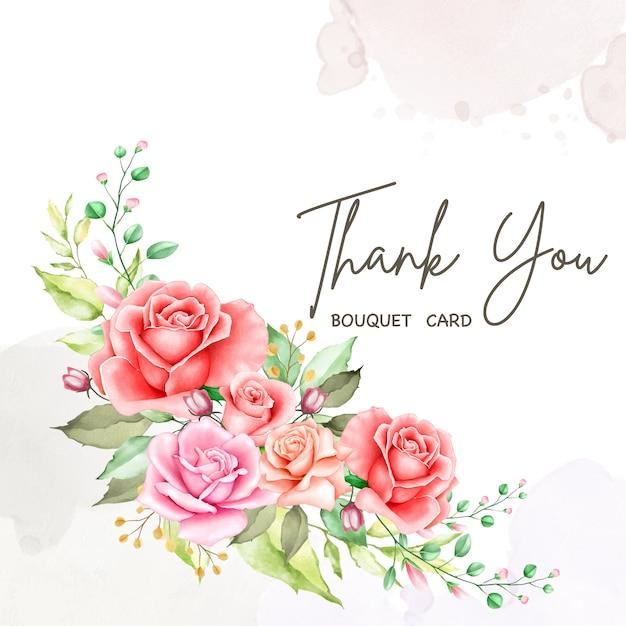 Preciosa tarjeta floral con mensaje de agradecimiento Vector Premium