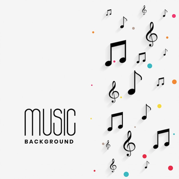 Precioso fondo de notas musicales con copyspace vector gratuito