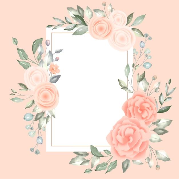 Precioso marco floral con tarjeta vintage vector gratuito