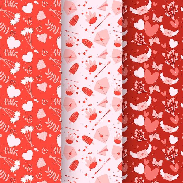 Precioso paquete de patrones de san valentín dibujados a mano vector gratuito