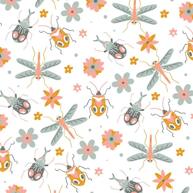 Precioso patrón con insectos repetitivos y flores. Vector Premium