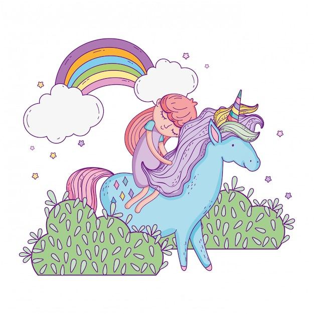 Precioso pequeño unicornio con princesa en el paisaje. Vector Premium
