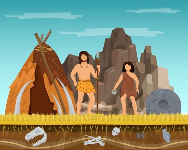 Prehistórico, pareja, mujer y hombre, permanecer, tienda antigua, pasado, edades, tiempo, carácter, macho, hembra, plano, vector, illustration Vector Premium