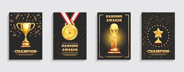 Premio conjunto de carteles de trofeo de oro vector gratuito
