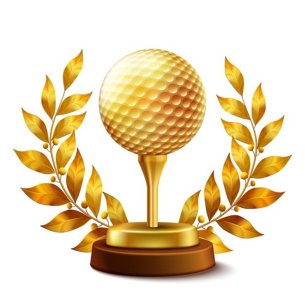 Premio de golf de oro vector gratuito