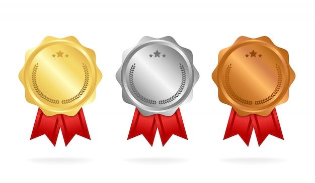 Premio medallas conjunto aislado en blanco con cintas y estrellas. Vector Premium