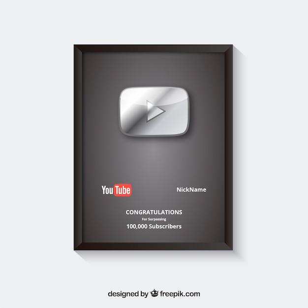Premio por suscriptores de youtube con diseño plano Vector Premium