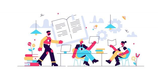 Preparando la prueba juntos. aprender y estudiar con amigos. revisión efectiva, horarios de revisión y planificación, cómo revisar el concepto de exámenes. ilustración aislada violeta vibrante brillante Vector Premium