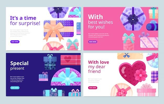 Presenta regalos para cada ocasión cajas de embalaje mejores deseos pegatinas concepto de servicio pancartas planas vector gratuito