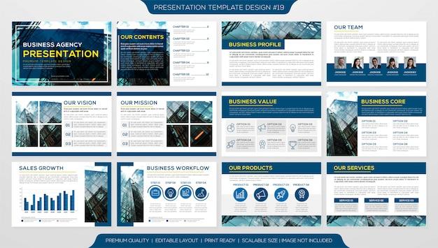 Presentación comercial o perfil corporativo con plantilla de páginas múltiples Vector Premium