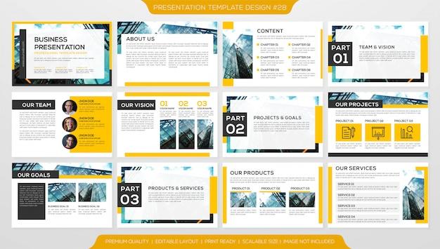 Presentación empresarial de powerpoint Vector Premium