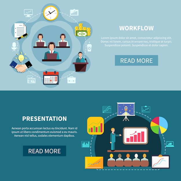 Presentación de negocios banners de presentación vector gratuito
