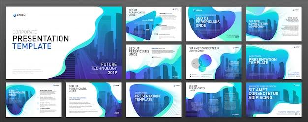Presentación de negocios plantillas de powerpoint set Vector Premium