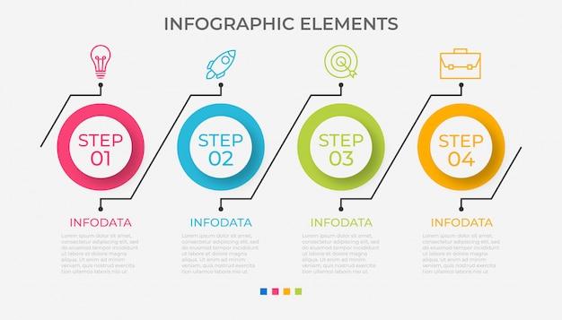 Presentación de plantilla de infografía empresarial con 4 opciones Vector Premium