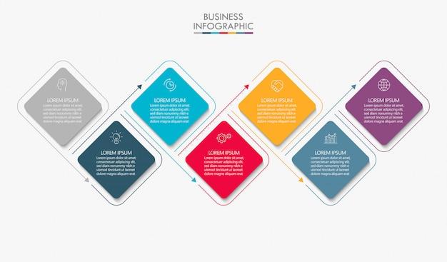 Presentación plantilla de infografía empresarial. Vector Premium
