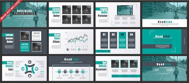 Presentación de powerpoint de negocios diapositivas plantillas de elementos de infografía. Vector Premium