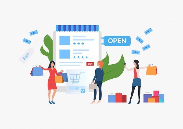Presentación de la venta de la plantilla de presentación de compras. vector gratuito