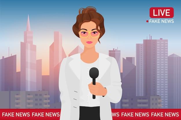 Presentador de una mujer bonita en el fondo de la ciudad. noticias de transmisión de televisión de medios Vector Premium