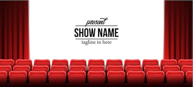 Presente la plantilla del nombre del espectáculo con asientos vacíos rojos en el cine cine Vector Premium
