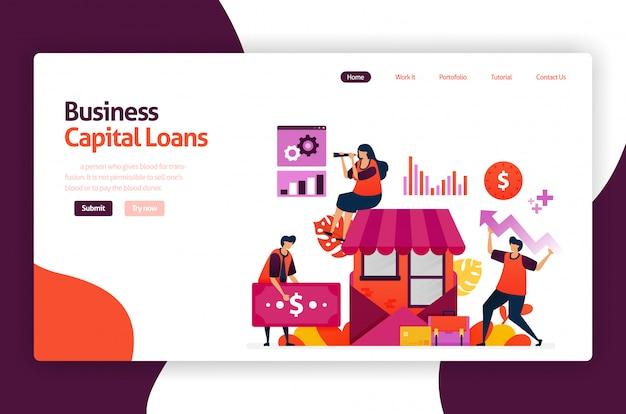 Préstamos de capital de riesgo para desarrollo e inversión de pyme. crédito de bajo interés para jóvenes emprendedores y negocios emergentes. Vector Premium